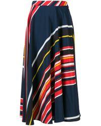 MSGM - Blue Striped Flared Skirt - Lyst