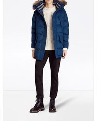 Burberry - Blue Cashmere Detachable Fur Trim Parka for Men - Lyst