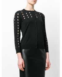 Rochas - Black Perforated Cardigan - Lyst