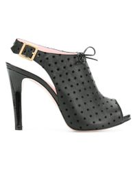 RED Valentino - Black Polka Dot Slingback Sandals - Lyst