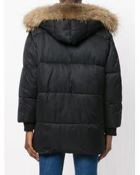 P.A.R.O.S.H. | Black Fur Hood Puffa Coat | Lyst