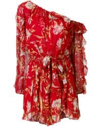 Zimmermann Red One-shoulder Floral Playsuit