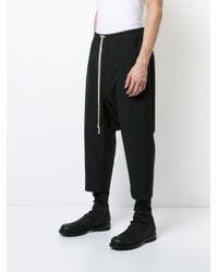 Rick Owens - Black Drawstring Drop-crotch Trousers for Men - Lyst