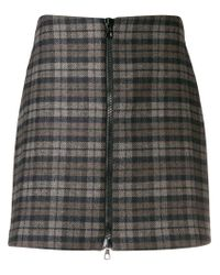 Ultrachic - Brown Checked Zip Front Skirt - Lyst
