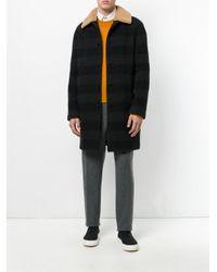 MSGM - Black Contrast Collar Coat for Men - Lyst
