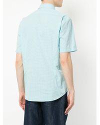 Cerruti 1881 - Blue Fine Check Curved Hem Shirt for Men - Lyst