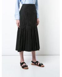 Protagonist - Black Pleated Hem Midi Skirt - Lyst