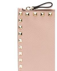 Valentino Pink Garavani Rockstud Clutch