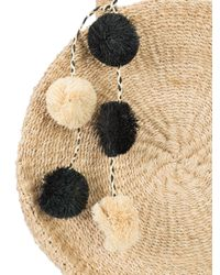 Kayu Brown Weaved Round Tote Bag With Pom-poms