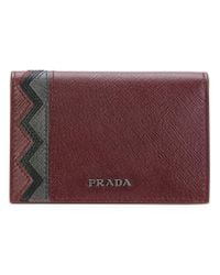 Prada - Red Chevron Detail Cardholder - Lyst