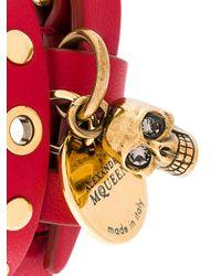Alexander McQueen - Red Bracciale 'skull' - Lyst