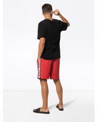 Burberry - Red Short de bain à bandes logo sur les côtés for Men - Lyst