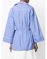 Erika Cavallini Semi Couture - Blue Tied Stripe Pyjama Shirt - Lyst