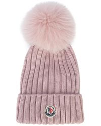 Moncler - Pink Ribbed Pom Pom Hat - Lyst
