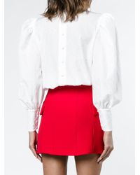 Alessandra Rich - White Crinkled-taffeta Blouse With Lace Inserts - Lyst