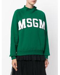 MSGM - Green Raglan Logo Sweatshirt - Lyst