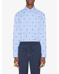 Gucci - Blue Ufo And Symbols Fil Coupé Shirt for Men - Lyst