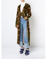 Johanna Ortiz - Green Floral Belted Coat - Lyst