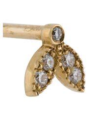 Yvonne Léon - Metallic Leaf Diamond Stud Earring - Lyst