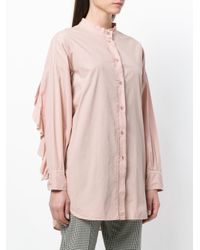 8pm - Pink Frill Trim Cut Out Elbows Shirt - Lyst