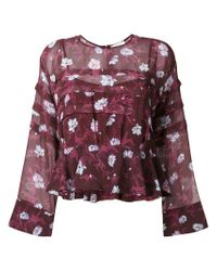 Carven | Purple Floral Print Blouse | Lyst