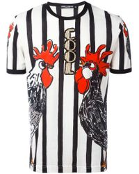 Dolce & Gabbana | Multicolor Rooster Print T-shirt for Men | Lyst