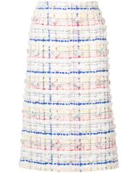 Thom Browne - White Lowrise Cardigan Pencil Skirt In Madras Pouf Tweed - Lyst