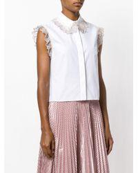 Christopher Kane White Lace Embellished Sleeveless Shirt