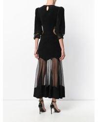 Alexander McQueen - Black Embroidered Sheer Dress - Lyst