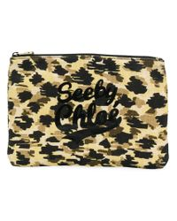 See By Chloé - Multicolor Leopard Print Logo Makeup Bag - Lyst
