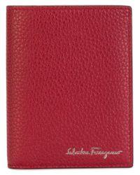 Ferragamo - Red Embossed Tri-fold Wallet - Lyst