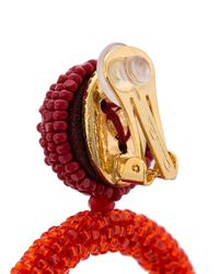 Oscar de la Renta - Red Beaded Double-hoop Earrings - Lyst