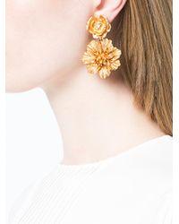 Oscar de la Renta - Metallic Gilded Floral Clip Earrings - Lyst