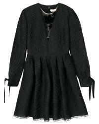 Fendi - Black Miniabito In Cloqué - Lyst