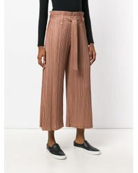 Pleats Please Issey Miyake - Brown Cropped High-waisted Trousers - Lyst