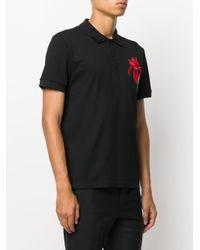 Alexander McQueen - Black Floral Patch Polo Shirt for Men - Lyst
