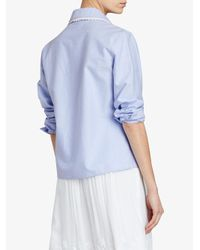 Burberry - Blue Lace Trim Collar Shirt - Lyst