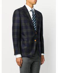 Kiton - Blue Checked Blazer for Men - Lyst
