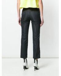 MSGM - Black Straight-leg Cropped Trousers - Lyst