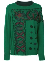 Sacai - Green Braided Knit Sweater - Lyst