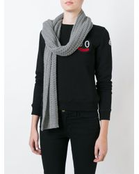 Moncler - Gray Grey Knit Scarf - Lyst