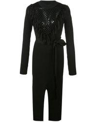 Yigal Azrouël Black Macrame Knit Dress