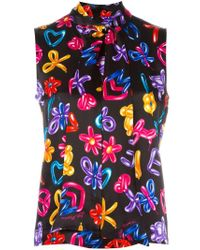 Love Moschino Multicolor Pussy Bow Sleeveless Top