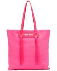 Miu Miu - Pink Logo Tote - Lyst