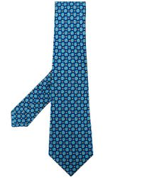Kiton Blue Floral Print Tie for men