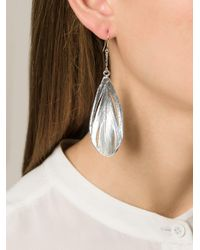 Aurelie Bidermann - Metallic 'swan' Feather Earrings - Lyst