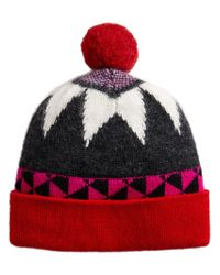 Burberry - Red Geometric Pattern Beanie - Lyst