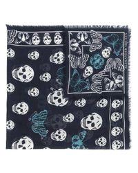 Alexander McQueen - Blue Frayed Skull Scarf - Lyst