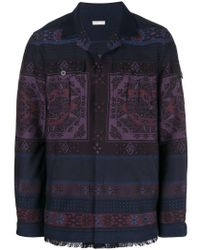 Etro - Blue Abstract Pattern Coat for Men - Lyst