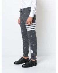 Thom Browne - Gray Classic Sweatpants In Quilted Loopback Cotton With Skier Embroidery for Men - Lyst